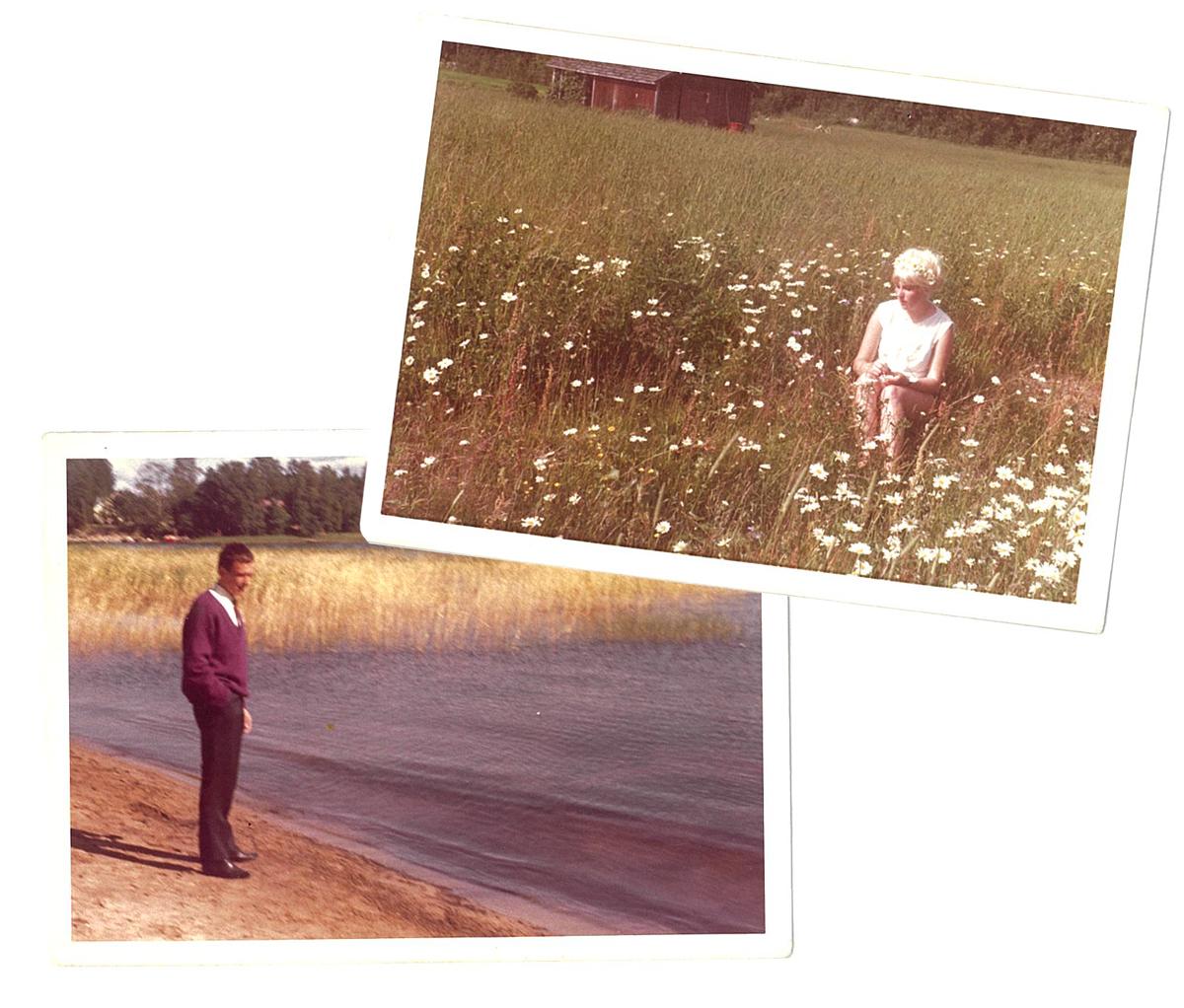 Äitini omenapuiden ympäröimällä kukkakedolla ja isä rannalla.